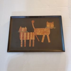 Vintage Couroc Hand Inlaid Tray Two Cats